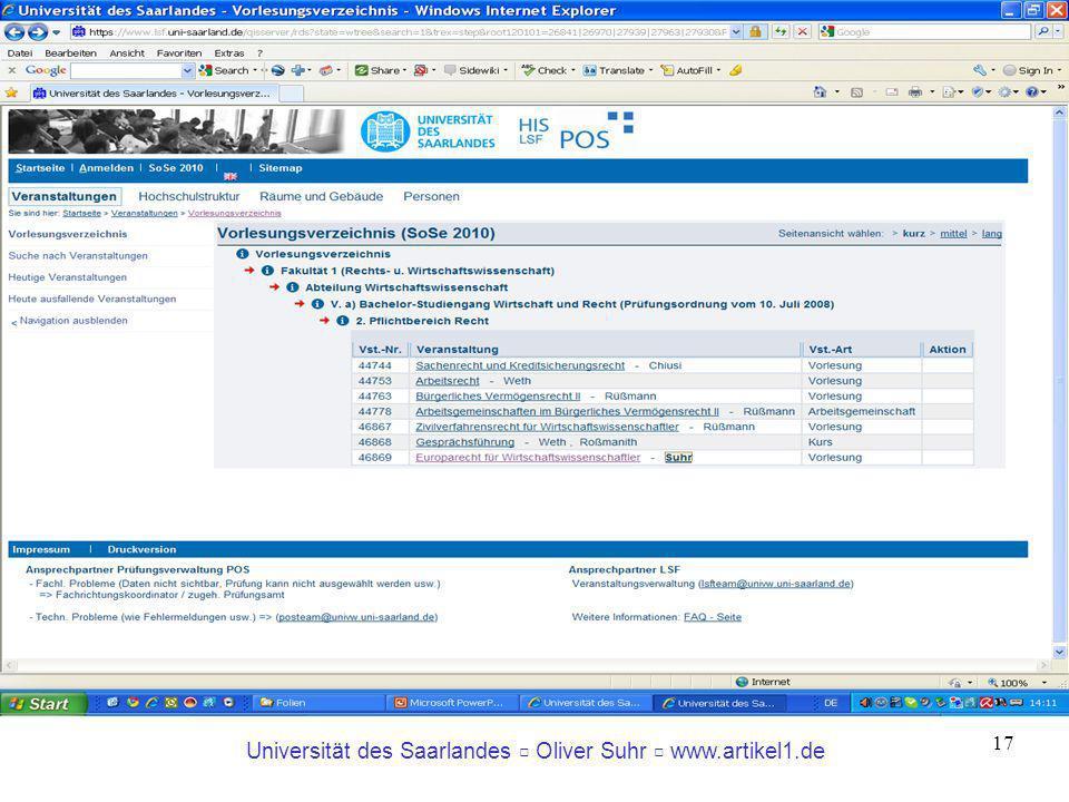 Universität des Saarlandes Oliver Suhr www.artikel1.de 17