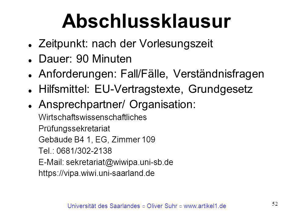 Universität des Saarlandes Oliver Suhr www.artikel1.de 52 Abschlussklausur Zeitpunkt: nach der Vorlesungszeit Dauer: 90 Minuten Anforderungen: Fall/Fä