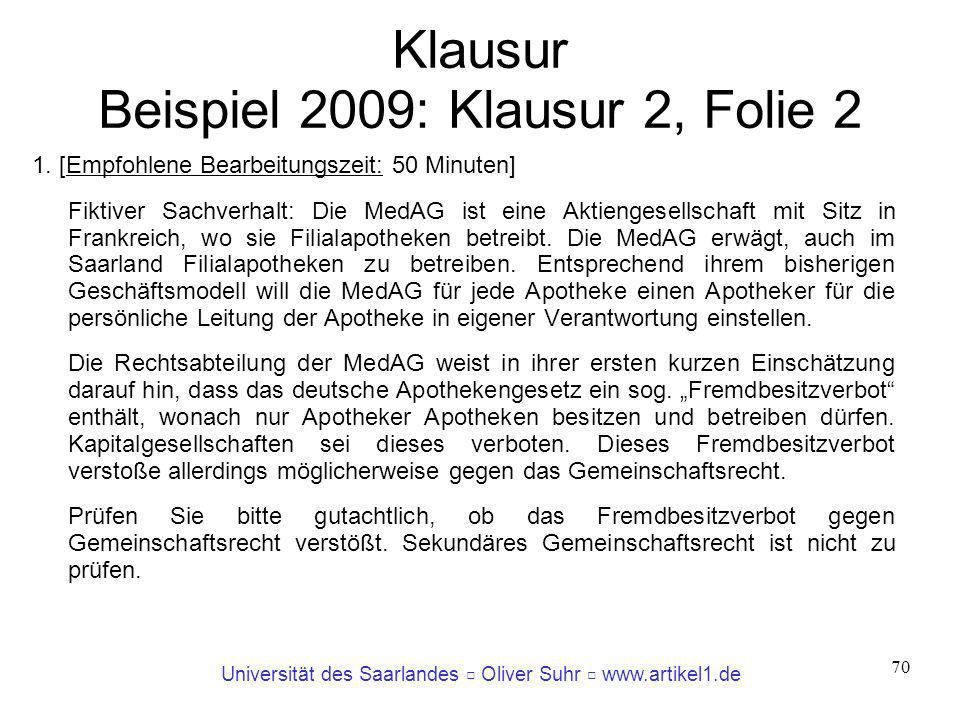 Universität des Saarlandes Oliver Suhr www.artikel1.de 70 Klausur Beispiel 2009: Klausur 2, Folie 2 1. [Empfohlene Bearbeitungszeit: 50 Minuten] Fikti