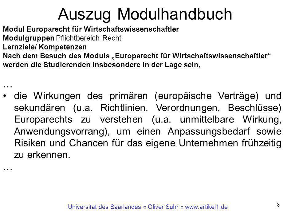 Universität des Saarlandes Oliver Suhr www.artikel1.de 8 Modul Europarecht für Wirtschaftswissenschaftler Modulgruppen Pflichtbereich Recht Lernziele/