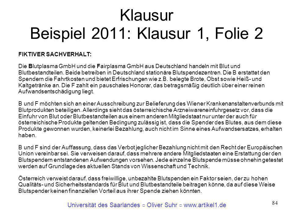 Universität des Saarlandes Oliver Suhr www.artikel1.de 84 Klausur Beispiel 2011: Klausur 1, Folie 2 FIKTIVER SACHVERHALT: Die Blutplasma GmbH und die