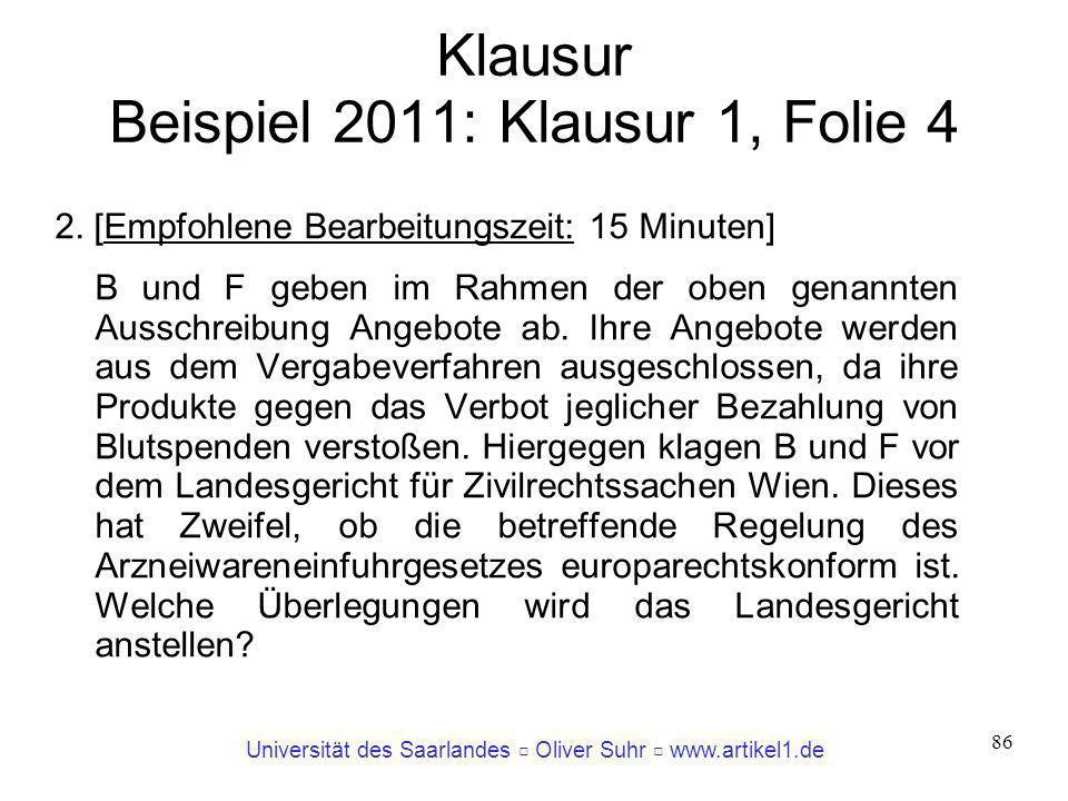 Universität des Saarlandes Oliver Suhr www.artikel1.de 86 Klausur Beispiel 2011: Klausur 1, Folie 4 2. [Empfohlene Bearbeitungszeit: 15 Minuten] B und