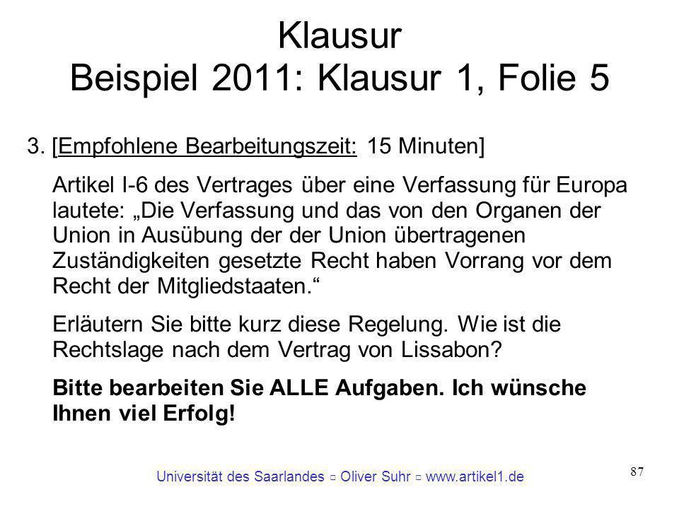 Universität des Saarlandes Oliver Suhr www.artikel1.de 87 Klausur Beispiel 2011: Klausur 1, Folie 5 3. [Empfohlene Bearbeitungszeit: 15 Minuten] Artik