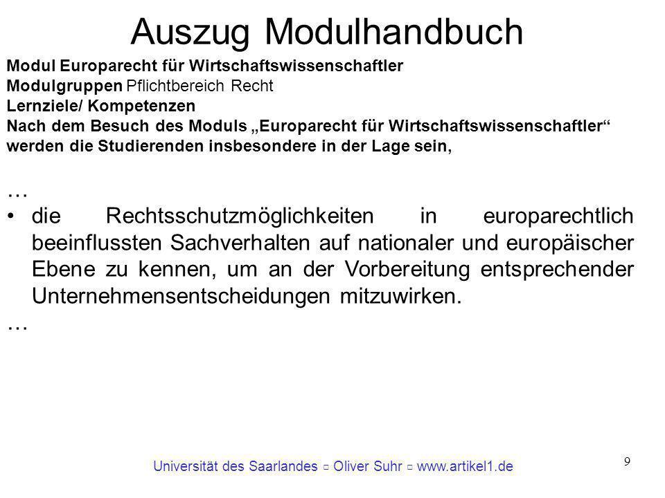Universität des Saarlandes Oliver Suhr www.artikel1.de 9 Modul Europarecht für Wirtschaftswissenschaftler Modulgruppen Pflichtbereich Recht Lernziele/