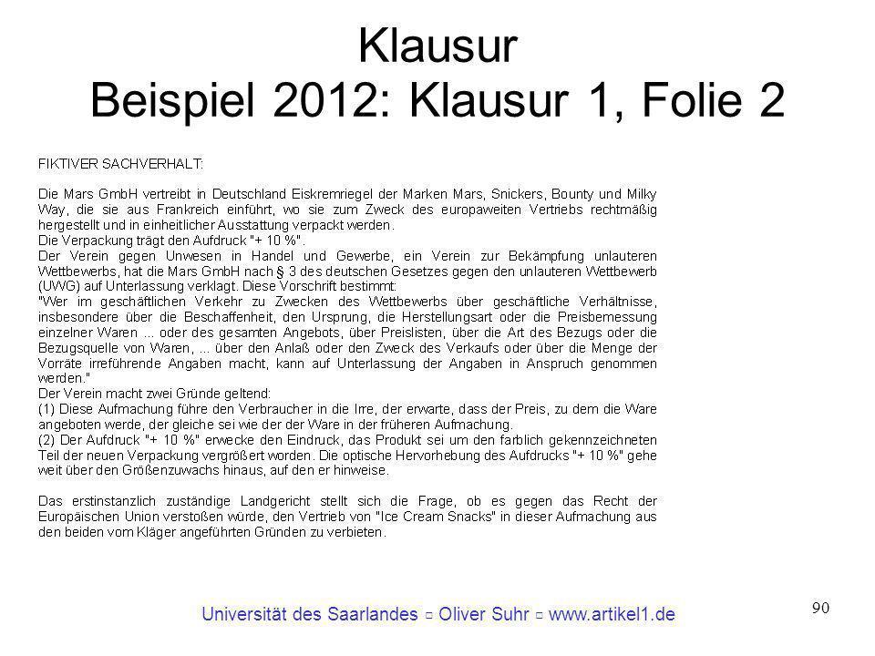 Universität des Saarlandes Oliver Suhr www.artikel1.de 90 Klausur Beispiel 2012: Klausur 1, Folie 2