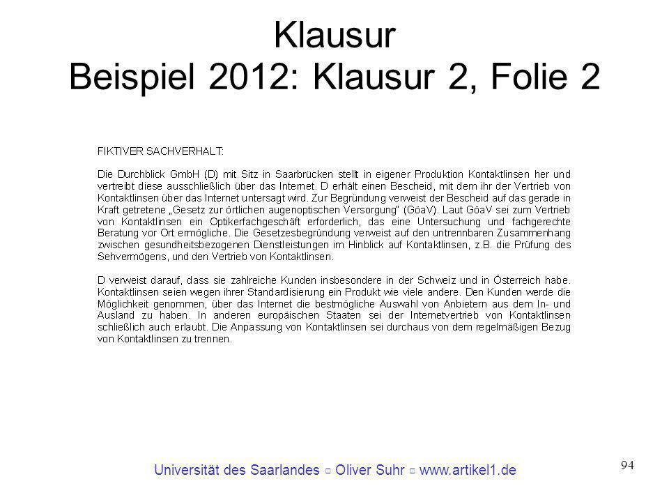 Universität des Saarlandes Oliver Suhr www.artikel1.de 94 Klausur Beispiel 2012: Klausur 2, Folie 2