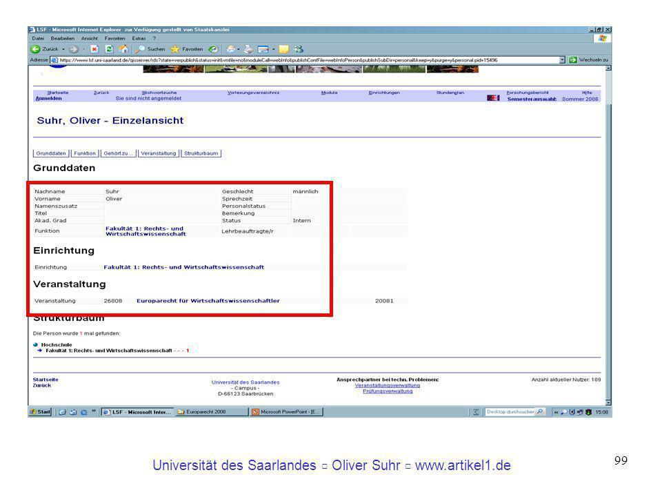 Universität des Saarlandes Oliver Suhr www.artikel1.de 99
