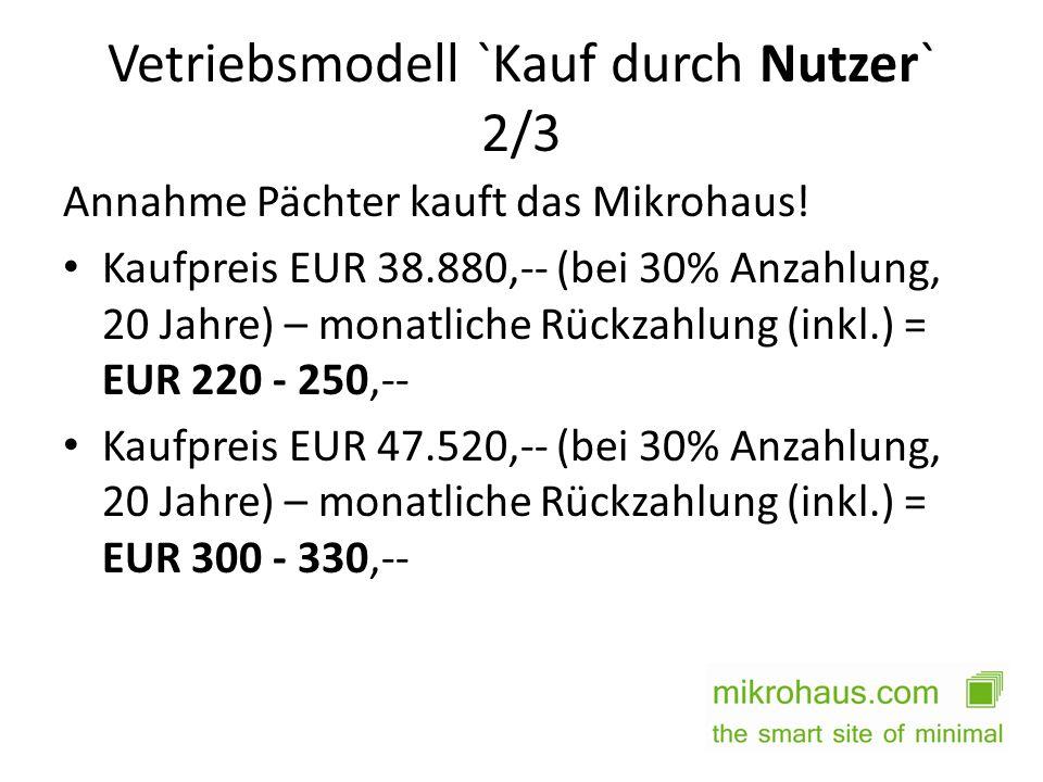 Vetriebsmodell `Kauf durch Nutzer` 2/3 Annahme Pächter kauft das Mikrohaus! Kaufpreis EUR 38.880,-- (bei 30% Anzahlung, 20 Jahre) – monatliche Rückzah