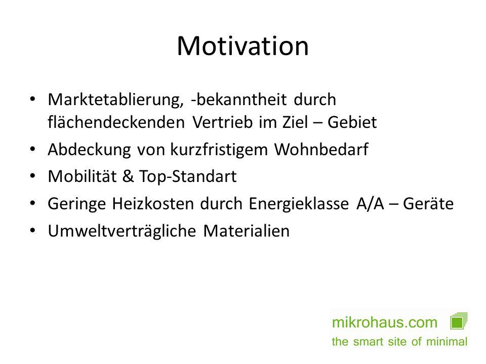 Motivation Marktetablierung, -bekanntheit durch flächendeckenden Vertrieb im Ziel – Gebiet Abdeckung von kurzfristigem Wohnbedarf Mobilität & Top-Stan