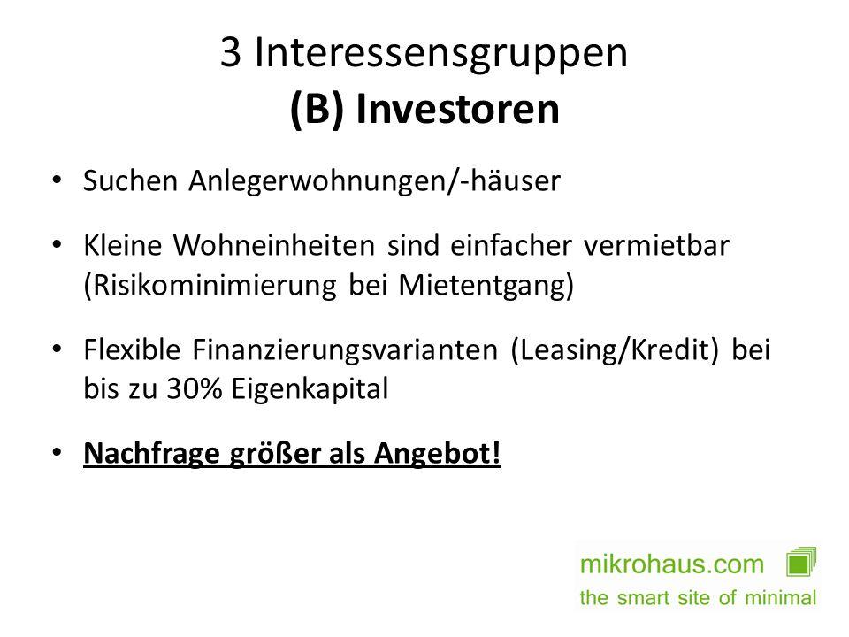3 Interessensgruppen (B) Investoren Suchen Anlegerwohnungen/-häuser Kleine Wohneinheiten sind einfacher vermietbar (Risikominimierung bei Mietentgang)
