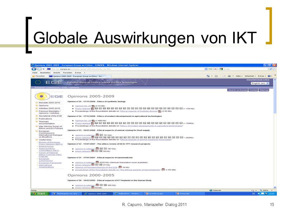 R. Capurro, Mariazeller Dialog 201115 Globale Auswirkungen von IKT