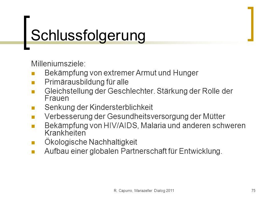 R. Capurro, Mariazeller Dialog 201175 Schlussfolgerung Milleniumsziele: Bekämpfung von extremer Armut und Hunger Primärausbildung für alle Gleichstell