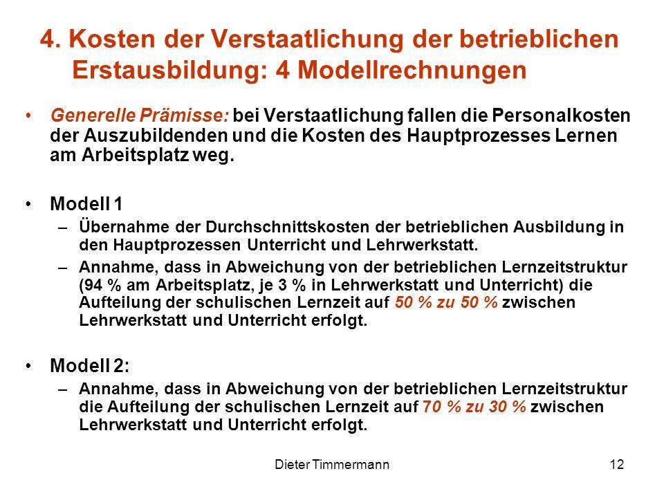 Dieter Timmermann12 Generelle Prämisse: bei Verstaatlichung fallen die Personalkosten der Auszubildenden und die Kosten des Hauptprozesses Lernen am A