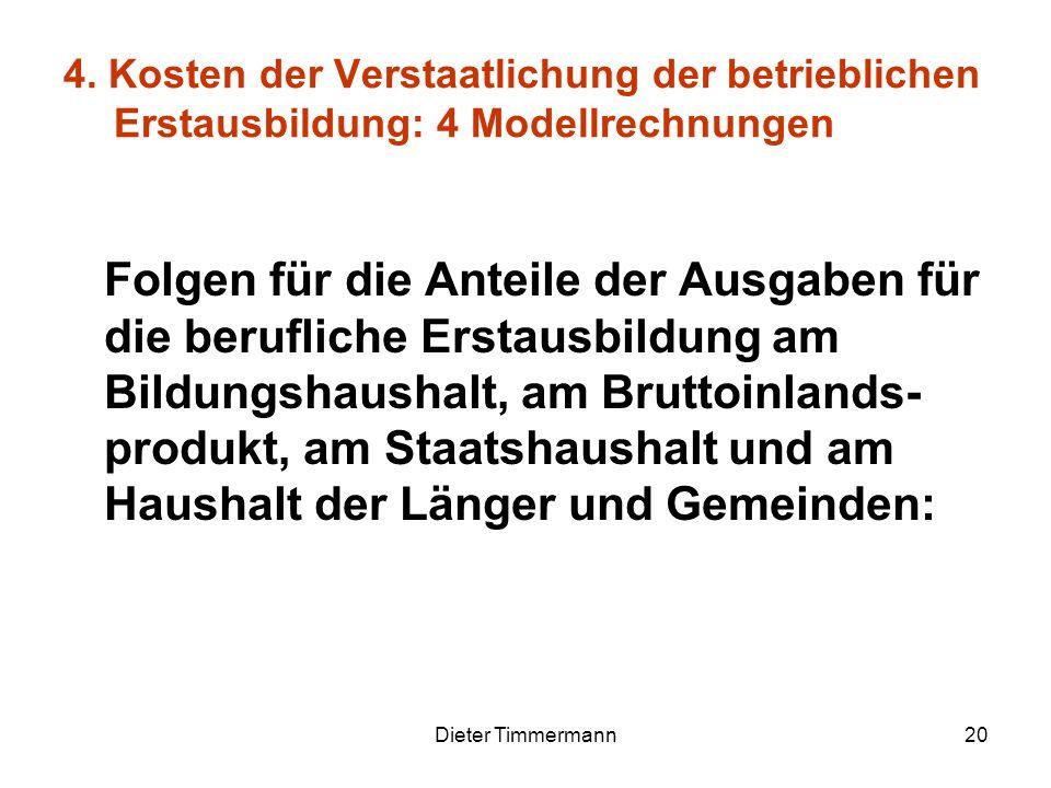 Dieter Timmermann20 4. Kosten der Verstaatlichung der betrieblichen Erstausbildung: 4 Modellrechnungen Folgen für die Anteile der Ausgaben für die ber
