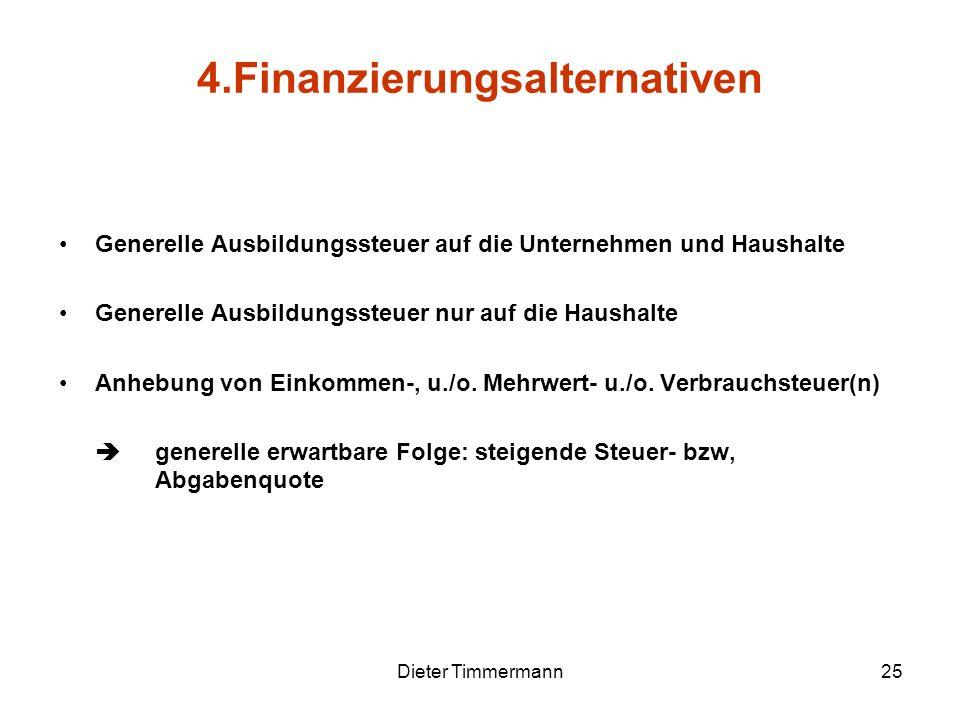 Dieter Timmermann25 Generelle Ausbildungssteuer auf die Unternehmen und Haushalte Generelle Ausbildungssteuer nur auf die Haushalte Anhebung von Einko