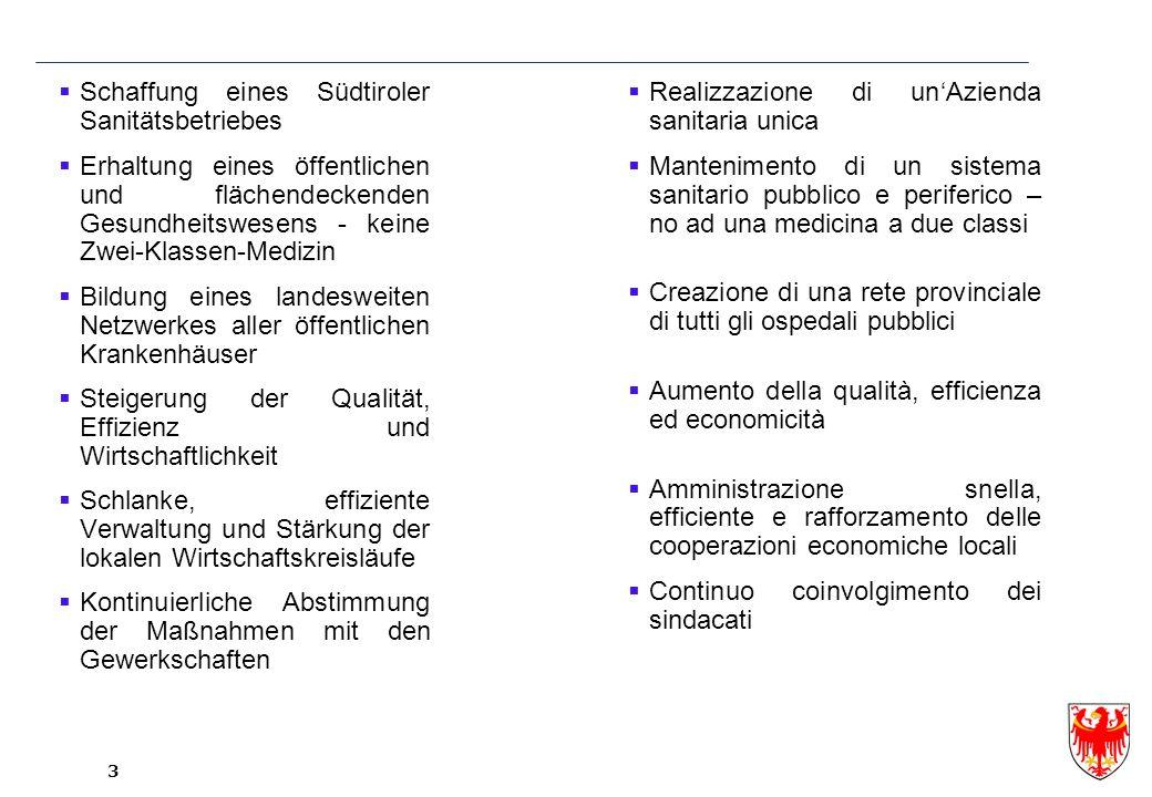 4 Schrittweise Umsetzung des Südtiroler Sanitätsbetriebes Einbeziehung von Experten der Sanitätsbetriebe und des Assessorates Begleitung durch international erfahrene Beratungsagentur Ernst&Young.