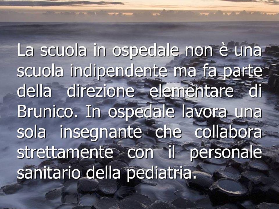 La scuola in ospedale non è una scuola indipendente ma fa parte della direzione elementare di Brunico. In ospedale lavora una sola insegnante che coll
