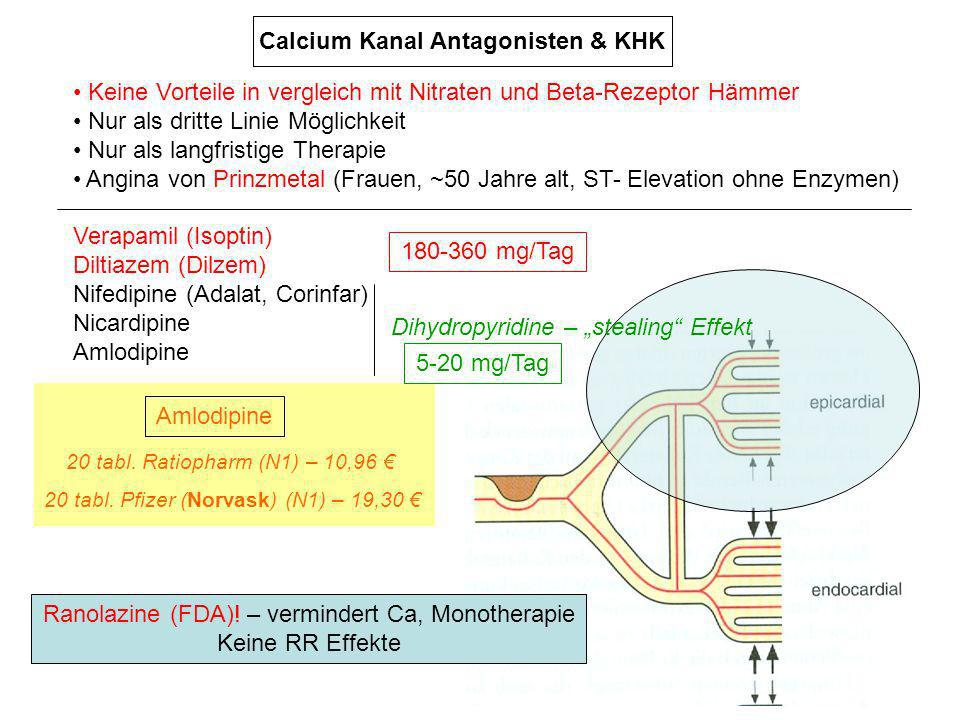 Keine Vorteile in vergleich mit Nitraten und Beta-Rezeptor Hämmer Nur als dritte Linie Möglichkeit Nur als langfristige Therapie Angina von Prinzmetal