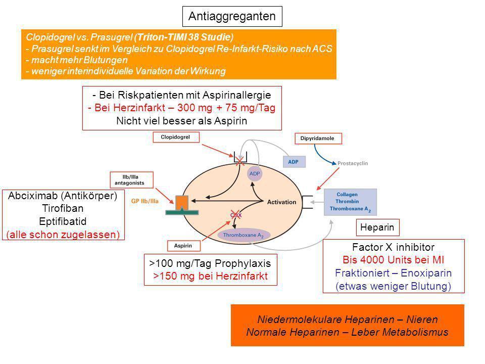 Antiaggreganten >100 mg/Tag Prophylaxis >150 mg bei Herzinfarkt - Bei Riskpatienten mit Aspirinallergie - Bei Herzinfarkt – 300 mg + 75 mg/Tag Nicht v