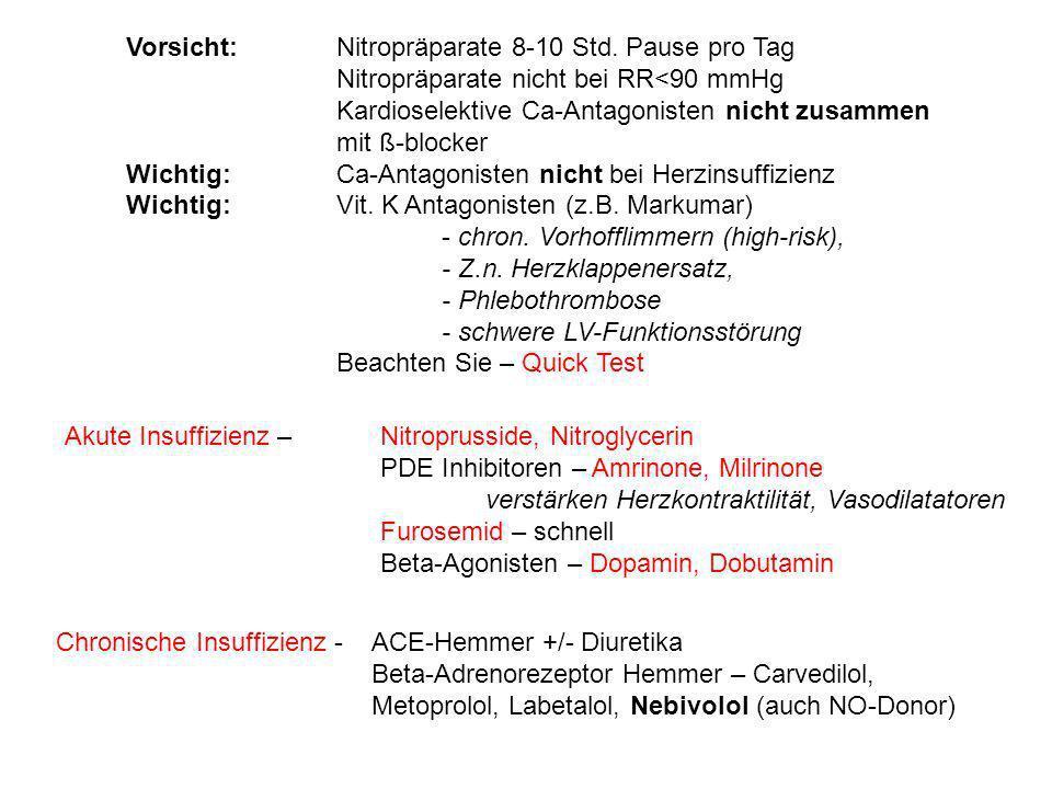 Vorsicht: Nitropräparate 8-10 Std. Pause pro Tag Nitropräparate nicht bei RR<90 mmHg Kardioselektive Ca-Antagonisten nicht zusammen mit ß-blocker Wich