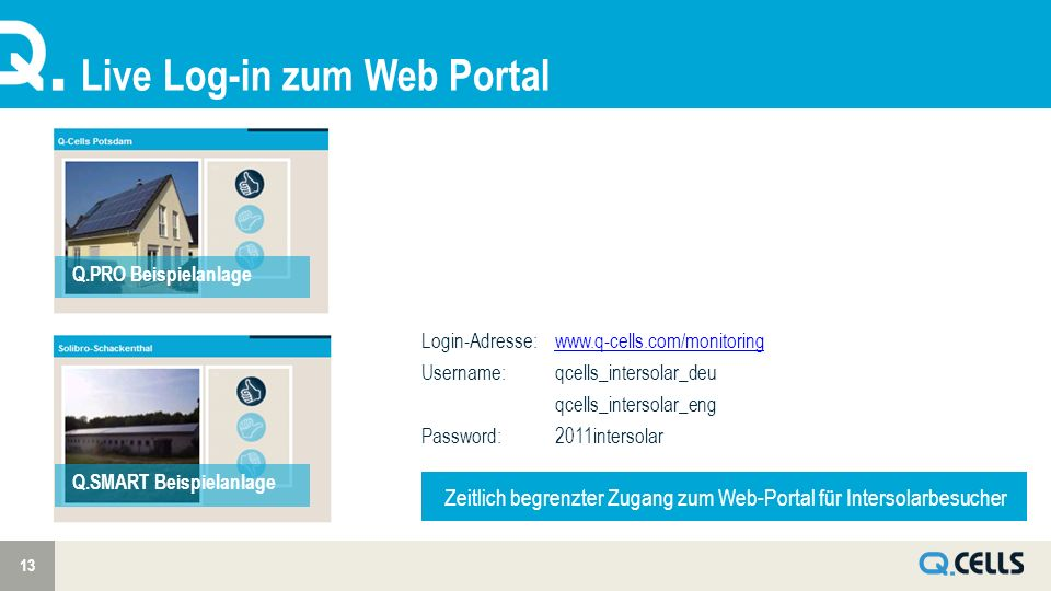 Live Log-in zum Web Portal 13 Q.PRO Beispielanlage Q.SMART Beispielanlage Login-Adresse:www.q-cells.com/monitoringwww.q-cells.com/monitoring Username: