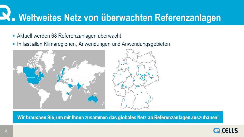Weltweites Netz von überwachten Referenzanlagen 5 Aktuell werden 68 Referenzanlagen überwacht In fast allen Klimaregionen, Anwendungen und Anwendungsgebieten Wir brauchen Sie, um mit Ihnen zusammen das globales Netz an Referenzanlagen auszubauen!