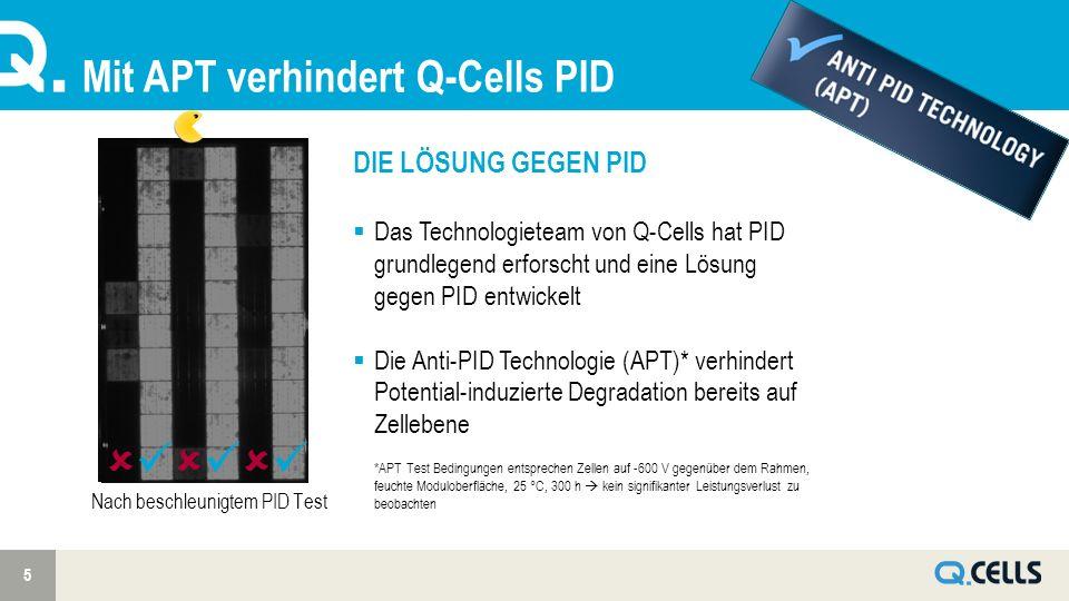 Mit APT verhindert Q-Cells PID 5 Nach beschleunigtem PID Test DIE LÖSUNG GEGEN PID Das Technologieteam von Q-Cells hat PID grundlegend erforscht und eine Lösung gegen PID entwickelt Die Anti-PID Technologie (APT)* verhindert Potential-induzierte Degradation bereits auf Zellebene *APT Test Bedingungen entsprechen Zellen auf -600 V gegenüber dem Rahmen, feuchte Moduloberfläche, 25 °C, 300 h kein signifikanter Leistungsverlust zu beobachten