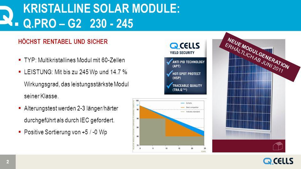 KRISTALLINE SOLAR MODULE: Q.PRO – G2 230 - 245 2 NEUE MODULGENERATION ERHÄLTLICH AB JUNI 2011 HÖCHST RENTABEL UND SICHER TYP: Multikristallines Modul