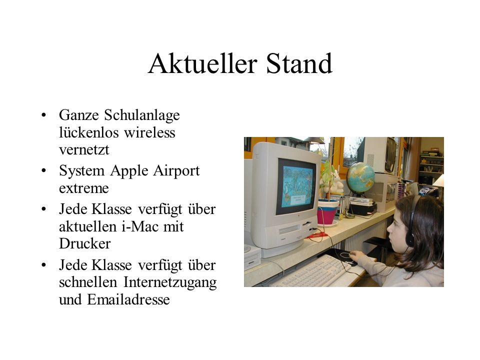 Aktueller Stand Ganze Schulanlage lückenlos wireless vernetzt System Apple Airport extreme Jede Klasse verfügt über aktuellen i-Mac mit Drucker Jede Klasse verfügt über schnellen Internetzugang und Emailadresse