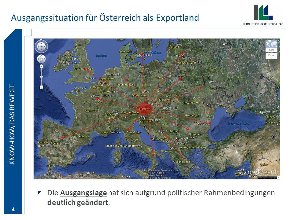 KNOW-HOW DAS BEWEGT. KNOW-HOW, DAS BEWEGT. 4 Ausgangssituation für Österreich als Exportland Die Ausgangslage hat sich aufgrund politischer Rahmenbedi