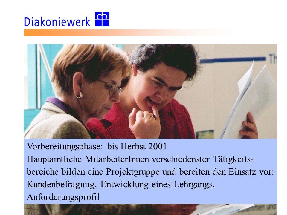 Vorbereitungsphase: bis Herbst 2001 Hauptamtliche MitarbeiterInnen verschiedenster Tätigkeits- bereiche bilden eine Projektgruppe und bereiten den Ein