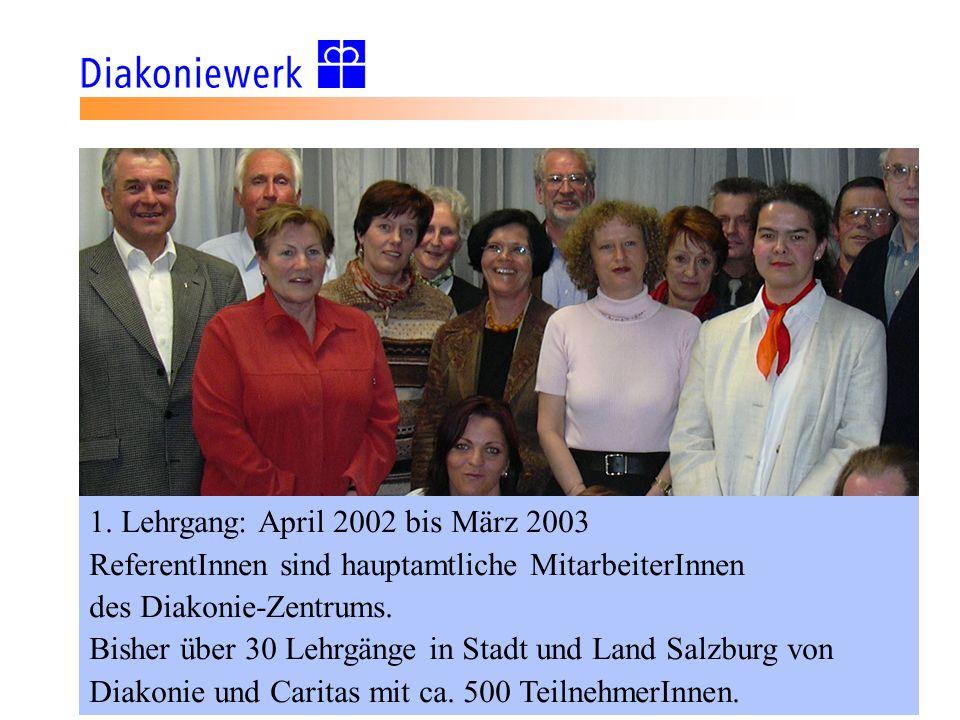 1. Lehrgang: April 2002 bis März 2003 ReferentInnen sind hauptamtliche MitarbeiterInnen des Diakonie-Zentrums. Bisher über 30 Lehrgänge in Stadt und L
