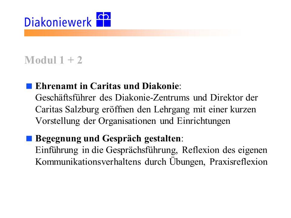 Modul 1 + 2 Ehrenamt in Caritas und Diakonie: Geschäftsführer des Diakonie-Zentrums und Direktor der Caritas Salzburg eröffnen den Lehrgang mit einer