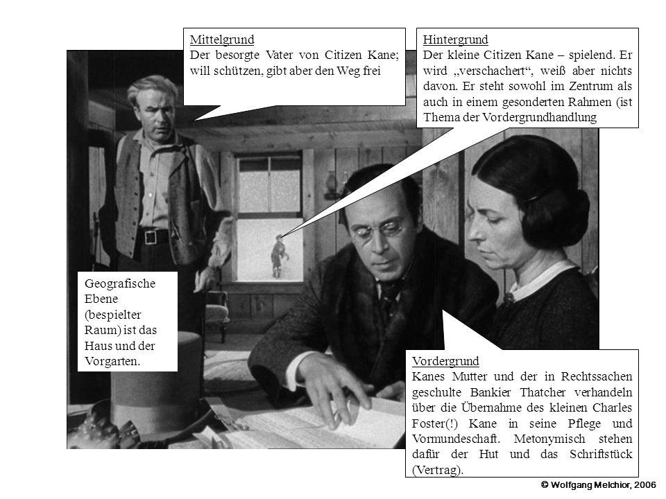 © Wolfgang Melchior, 2006 Mittelgrund Der besorgte Vater von Citizen Kane; will schützen, gibt aber den Weg frei Hintergrund Der kleine Citizen Kane –