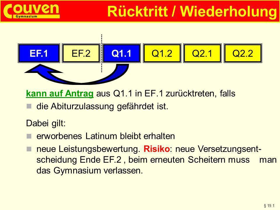 Rücktritt / Wiederholung kann auf Antrag aus Q1.1 in EF.1 zurücktreten, falls die Abiturzulassung gefährdet ist. § 19.1 EF.1EF.2Q1.1Q1.2Q2.1Q2.2 Dabei