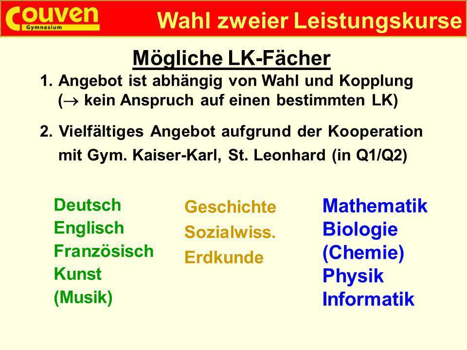 Wahl zweier Leistungskurse Deutsch Englisch Französisch Kunst (Musik) Mathematik Biologie (Chemie) Physik Informatik 2. Vielfältiges Angebot aufgrund