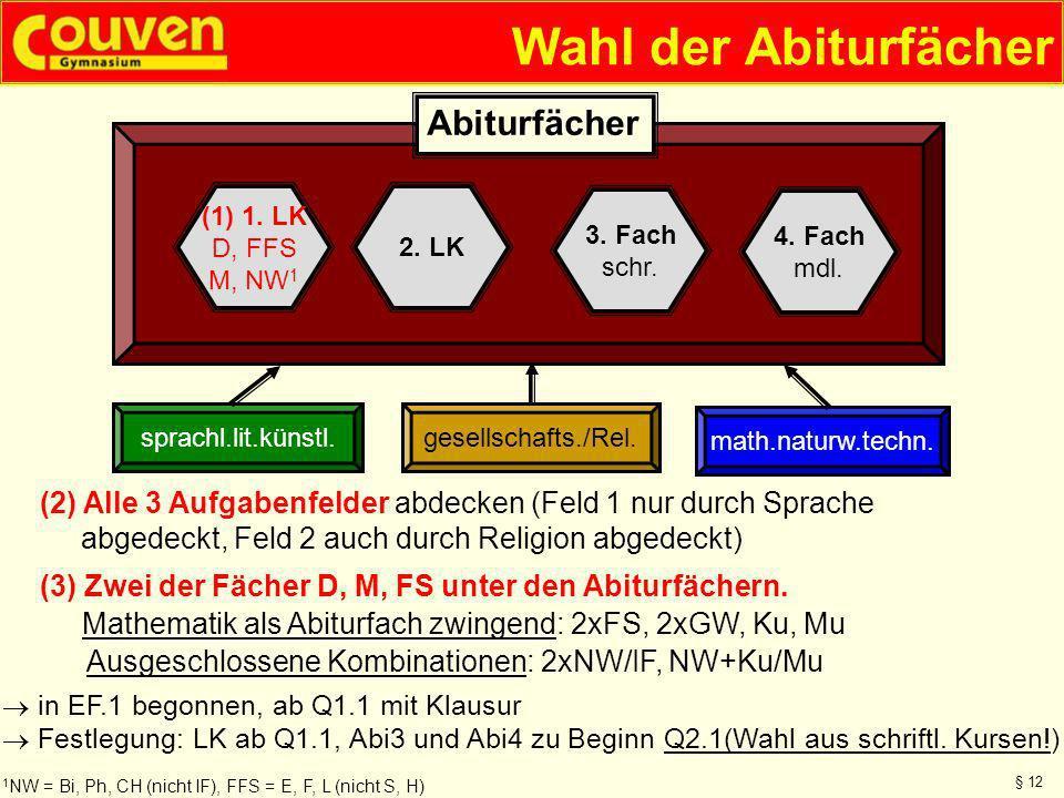 Wahl der Abiturfächer gesellschafts./Rel.sprachl.lit.künstl. math.naturw.techn. (1) 1. LK D, FFS M, NW 1 2. LK 4. Fach mdl. 3. Fach schr. Abiturfächer