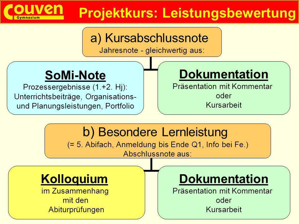 a) Kursabschlussnote Jahresnote - gleichwertig aus: SoMi-Note Prozessergebnisse (1.+2. Hj): Unterrichtsbeiträge, Organisations- und Planungsleistungen