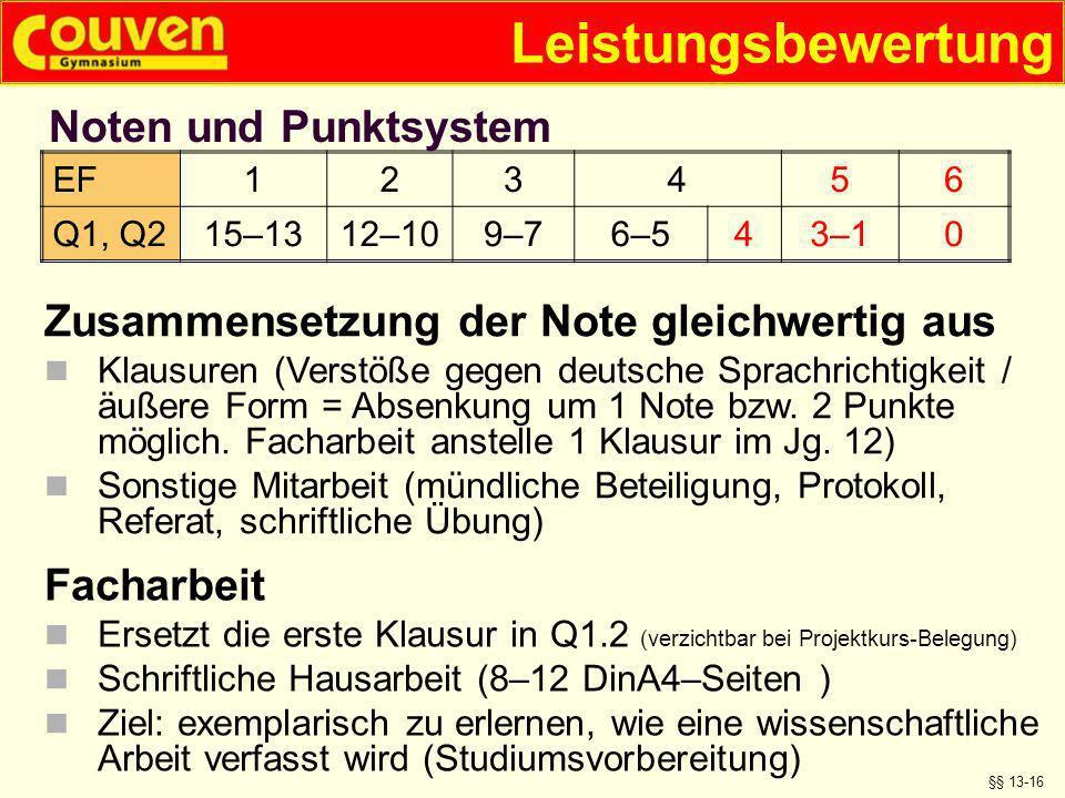 Leistungsbewertung §§ 13-16 Zusammensetzung der Note gleichwertig aus Klausuren (Verstöße gegen deutsche Sprachrichtigkeit / äußere Form = Absenkung u
