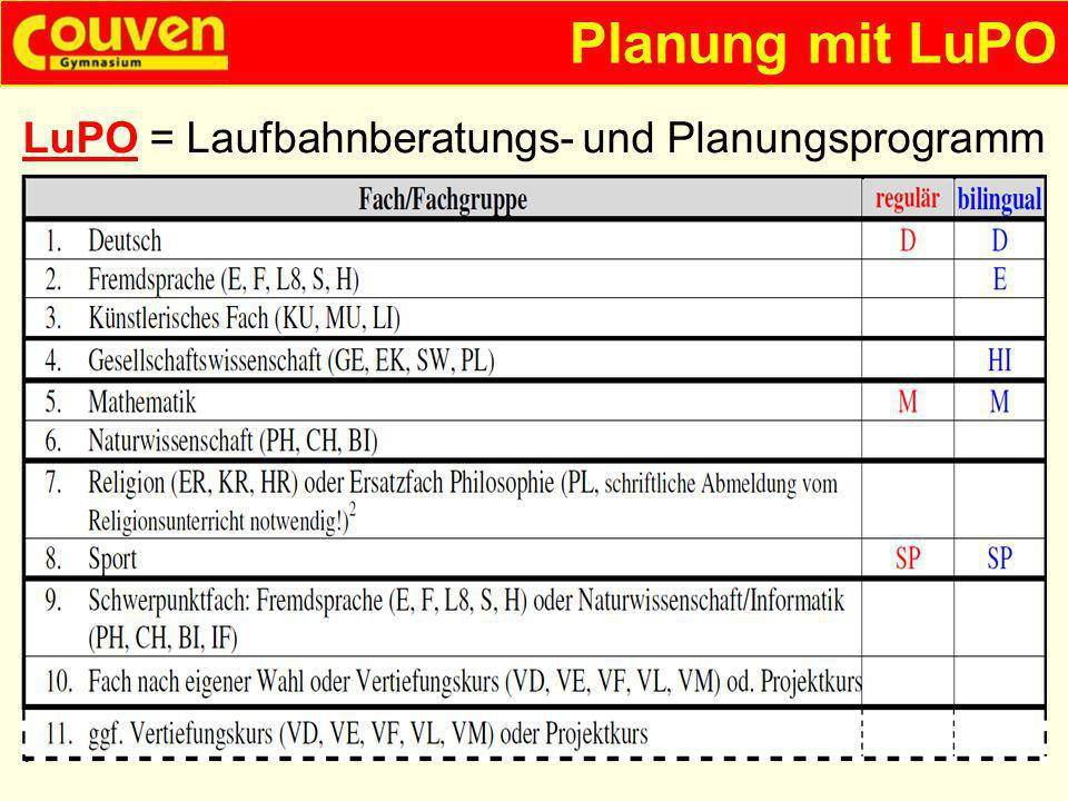 Planung mit LuPO LuPO = Laufbahnberatungs- und Planungsprogramm