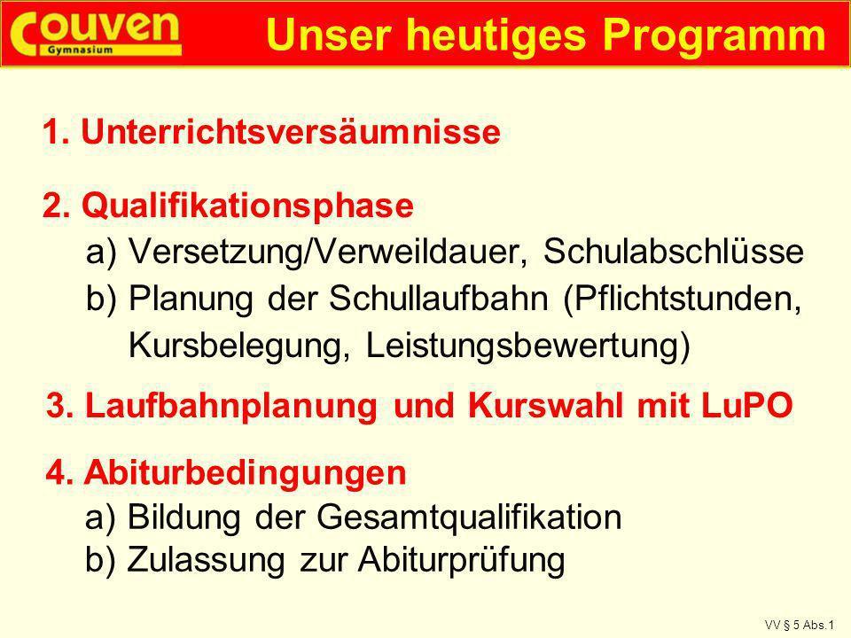 a)Versetzung/Verweildauer, Schulabschlüsse b)Planung der Schullaufbahn (Pflichtstunden, Kursbelegung, Leistungsbewertung) VV § 5 Abs.1 2. Qualifikatio