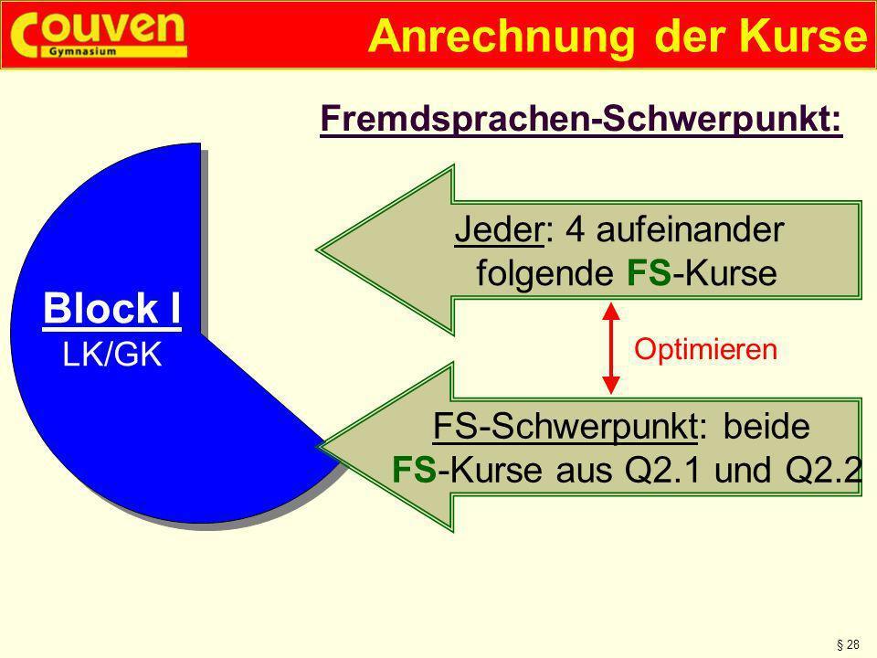 Anrechnung der Kurse § 28 Fremdsprachen-Schwerpunkt: Block I LK/GK Jeder: 4 aufeinander folgende FS-Kurse FS-Schwerpunkt: beide FS-Kurse aus Q2.1 und