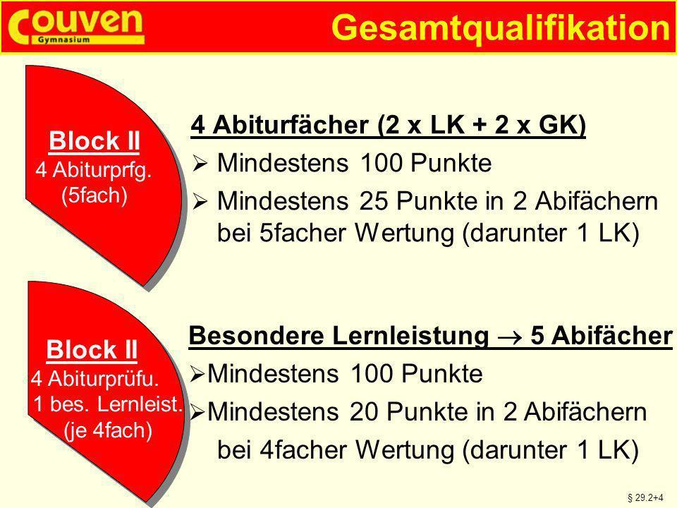 Gesamtqualifikation 4 Abiturfächer (2 x LK + 2 x GK) Mindestens 100 Punkte Mindestens 25 Punkte in 2 Abifächern bei 5facher Wertung (darunter 1 LK) §