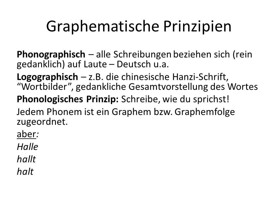 Graphematische Prinzipien Phonographisch – alle Schreibungen beziehen sich (rein gedanklich) auf Laute – Deutsch u.a. Logographisch – z.B. die chinesi