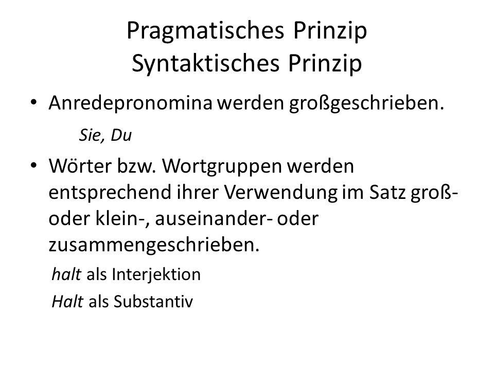 Pragmatisches Prinzip Syntaktisches Prinzip Anredepronomina werden großgeschrieben. Sie, Du Wörter bzw. Wortgruppen werden entsprechend ihrer Verwend
