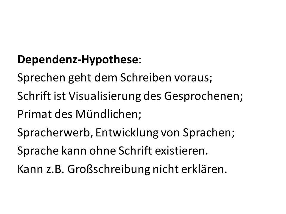 Dependenz-Hypothese: Sprechen geht dem Schreiben voraus; Schrift ist Visualisierung des Gesprochenen; Primat des Mündlichen; Spracherwerb, Entwicklung