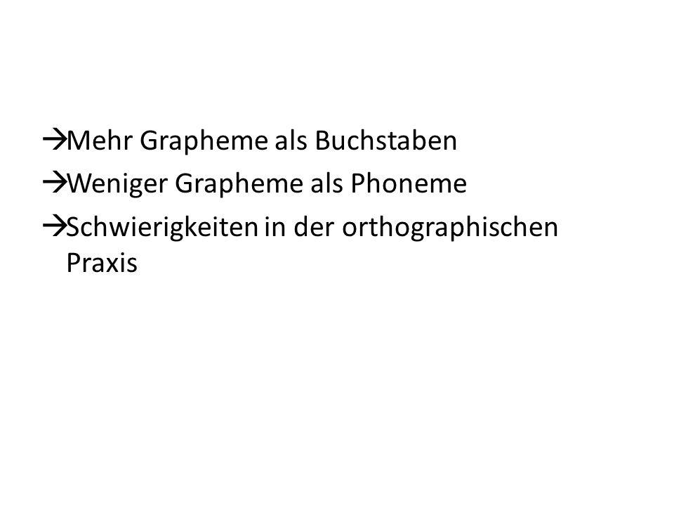 Mehr Grapheme als Buchstaben Weniger Grapheme als Phoneme Schwierigkeiten in der orthographischen Praxis