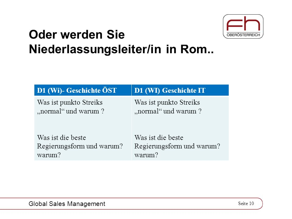 Seite 10 Global Sales Management Oder werden Sie Niederlassungsleiter/in in Rom.. D1 (Wi)- Geschichte ÖSTD1 (WI) Geschichte IT Was ist punkto Streiks