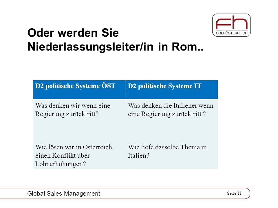 Seite 11 Global Sales Management Oder werden Sie Niederlassungsleiter/in in Rom.. D2 politische Systeme ÖST D2 politische Systeme IT Was denken wir we