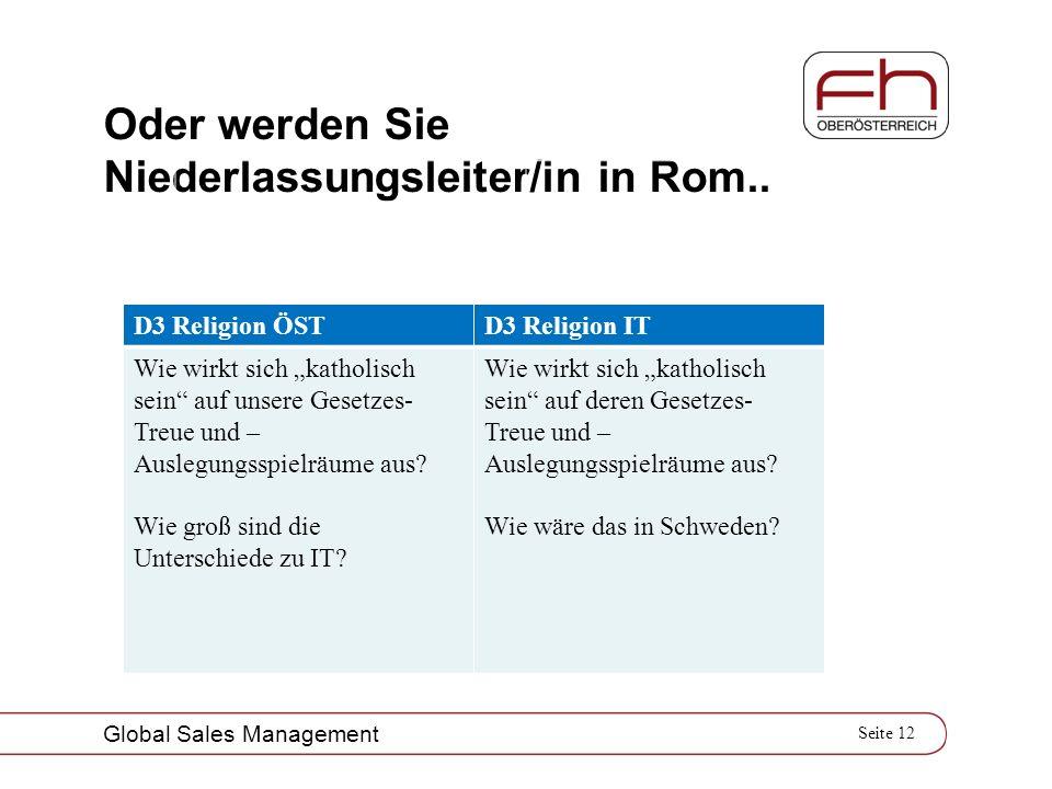 Seite 12 Global Sales Management Oder werden Sie Niederlassungsleiter/in in Rom.. D3 Religion ÖSTD3 Religion IT Wie wirkt sich katholisch sein auf uns